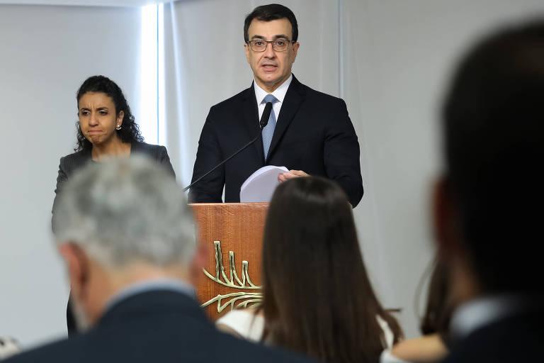 O novo chanceler, Carlos França, durante cerimônia de transmissão de cargo no Palácio do Planalto
