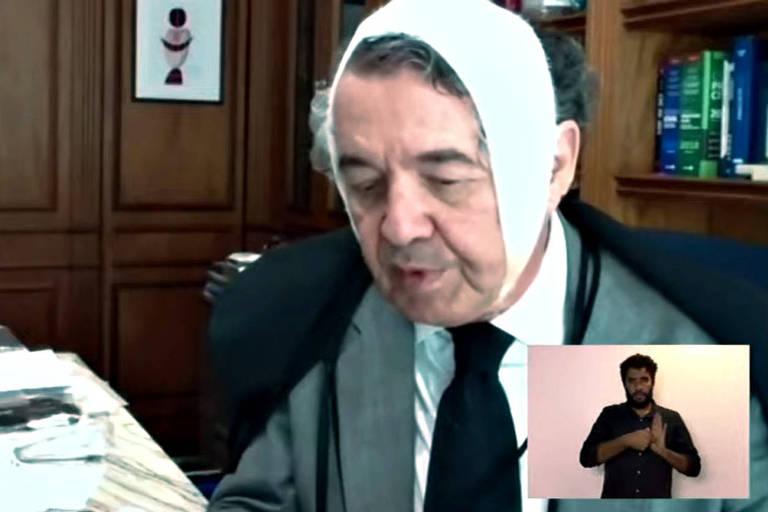 O ministro do STF, Marco Aurélio Mello, durante sessão do tribunal por vídeo conferência