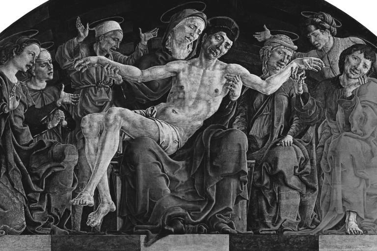 Cristo deposto da cruz em detalhe da Pietà de Cosme Tura, imagem presente no livro