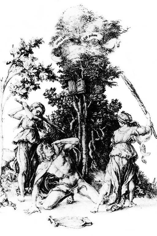 """Detalhe de """"A Morte de Orfeu"""", de Albrecht Dürer, imagem presente no livro"""