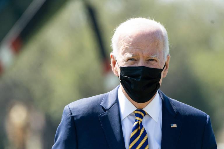O presidente dos EUA, Joe Biden, ao chegar à Casa Branca após viagem