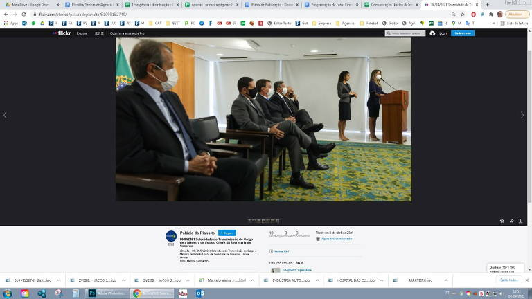 Print que mostra a foto do presidente do PL, Valdemar Costa Neto, na página do Palácio do Planalto no Flickr. Na página foram divulgadas fotos da posse dos novos ministros do governo Bolsonaro e Costa Neto foi um dos convidados da cerimônia