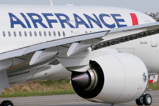 FILE PHOTO: The first Air France airliner's Airbus A350 prepares to take off after a ceremony at the aircraft builder's headquarters in Colomiers near Toulouse, France