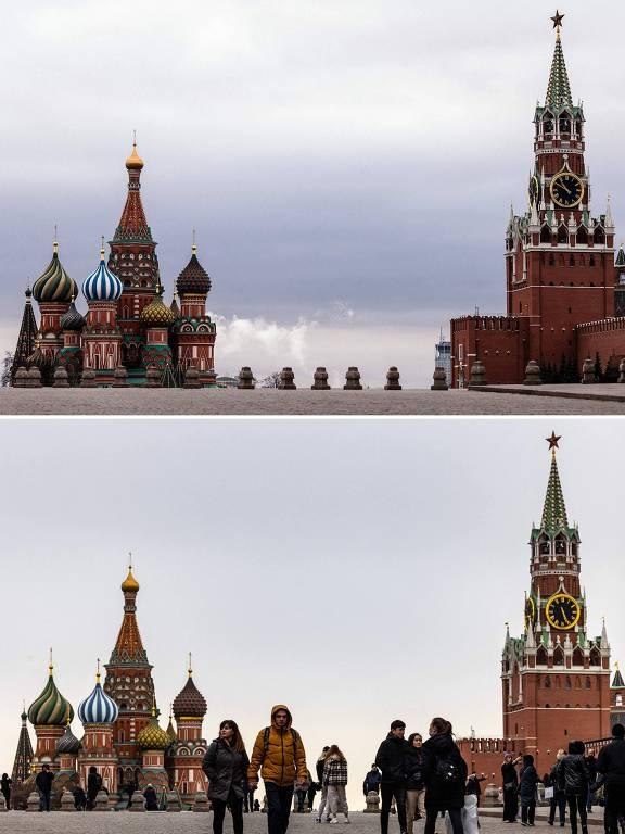 A Praça Vermelha, em Moscou, em 30 de março de 2020, durante lockdown, e na mesma data em 2021