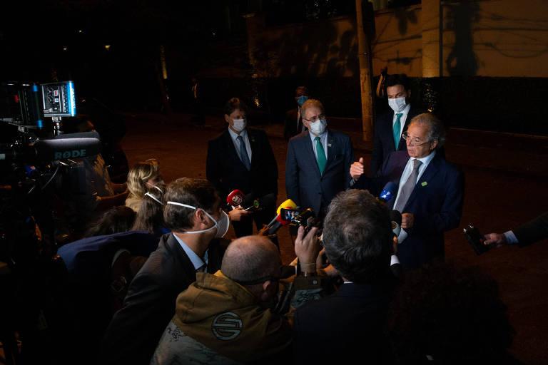 Jantar do Presidente da Republica Jair Bolsonaro com empresários em São Paulo. Na foto, os ministros Guedes, Faria, Queiroga e Freitas