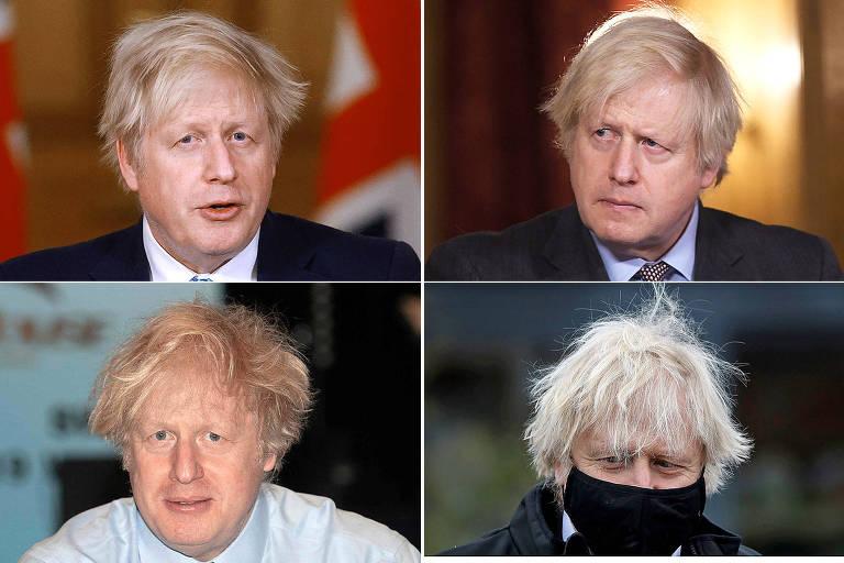 Quatro fotos do premiê britânico mostrando em cada uma delas um cabelo cada vez maior e mais despenteado