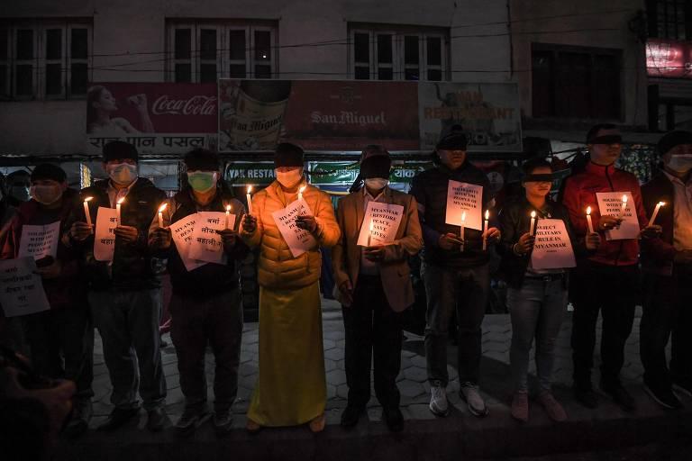 Protestos por Myanmar