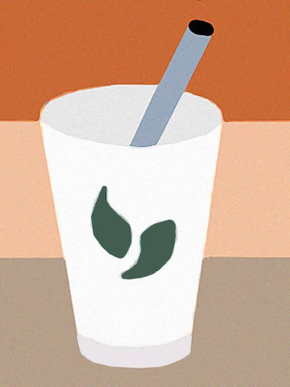 Emoji / Icone de um copo com canudo feito pelo Twitter para o movimento Milk Tea Aliance