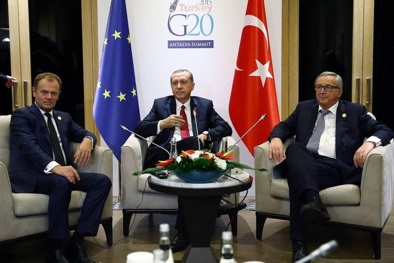 Os três homens posam para foto sentados em poltronas, com bandeiras da União Europeia e da Turquia