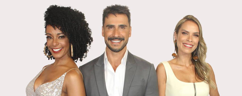 Alinne Prado (esq.), Julio Rocha e Lígia Mendes são os apresentadores do TV Fama