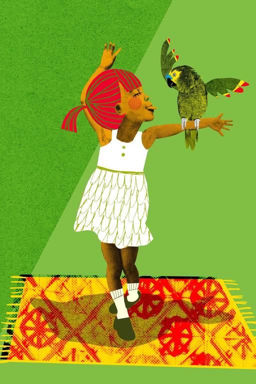 menina sobre tapete com papagaio na mão
