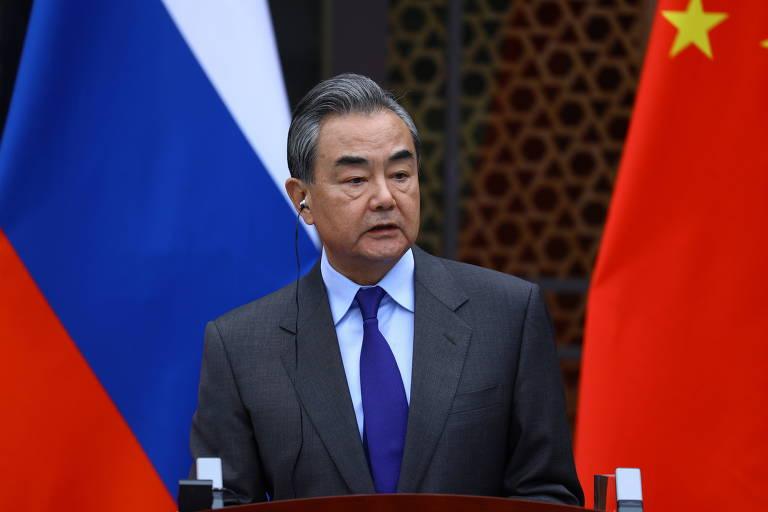 Ministro de Relações Exteriores da China, Wang Yi, durante uma conferência na Rússia em março de 2021