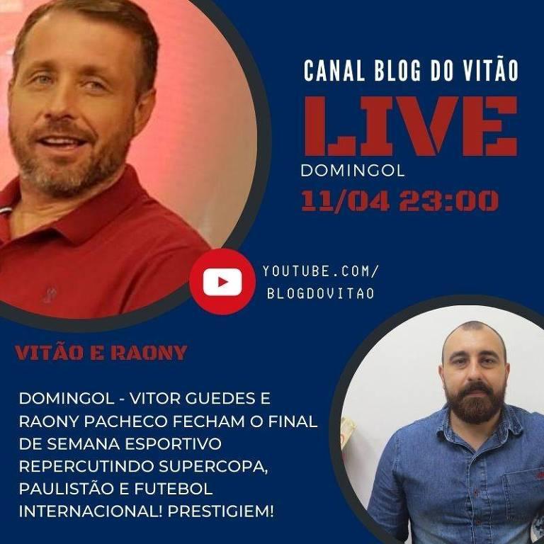 Divulgação de live, coluna Caneladas do Vitão