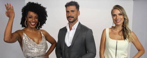 Os apresentadores Alinne Prado, Julio Rocha e Ligia Mendes