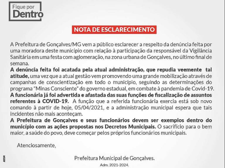 Nota da prefeitura de Gonçalves