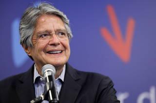 Ecuador's President-elect Guillermo Lasso speaks to media in Quito