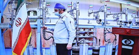 A handout picture provided by the Iranian presidential office on April 10, 2021, shows a grab of a videoconference screen of an enginere inside Iran's Natanz uranium enrichment plant, shown during a ceremony headed by the country's president on Iran's National Nuclear Technology Day, in the capital Tehran. - Iran announced today it has started up advanced uranium enrichment centrifuges in a breach of its undertakings under a troubled 2015 nuclear deal, days after talks on rescuing it got underway. President Hassan Rouhani officially inaugurated the cascades of 164 IR-6 centrifuges and 30 IR-5 devices at Iran's Natanz uranium enrichment plant in a ceremony broadcast by state television. (Photo by - / Iranian Presidency / AFP) / === RESTRICTED TO EDITORIAL USE - MANDATORY CREDIT