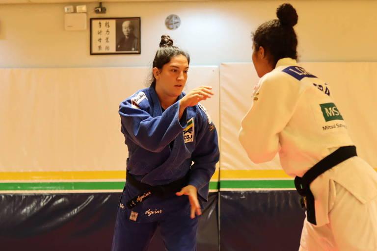 Judoca brasileira Mayra Aguiar treina no Centro de Treinamento do Comitê Olímpico do Brasil, no Rio de Janeiro