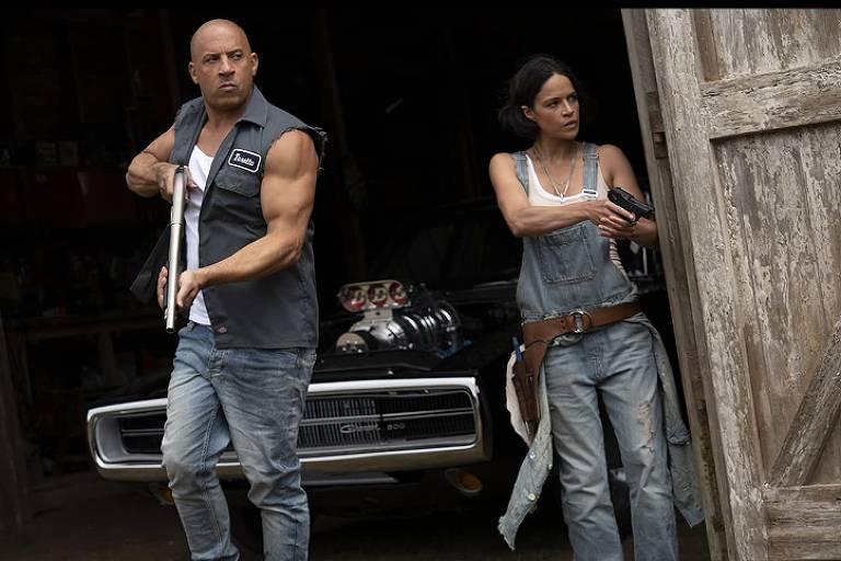 Vin Diesel e Michelle Rodriguez em cena de 'Velozes e Furiosos 9'