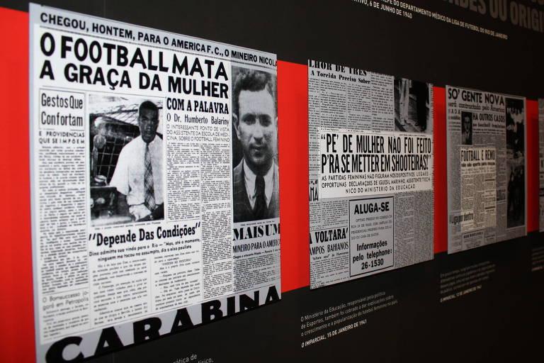 """""""Contra-Ataque"""", exposição do Museu do Futebol em 2019, discutiu os anos de proibição do futebol feminino"""