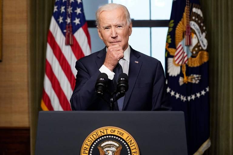 O presidente americano, Joe Biden, durante pronunciamento na Casa Branca