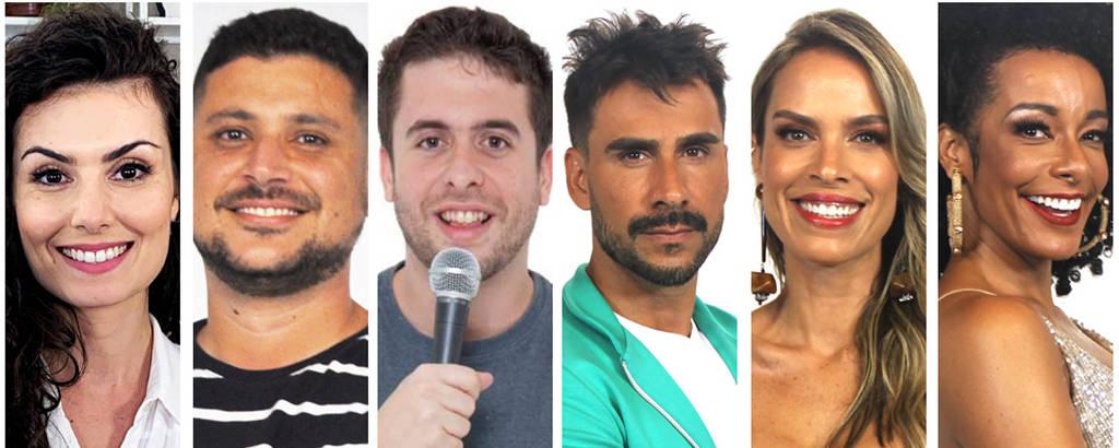 Da esq. para dir. Nathalia Arcuri, Raul Lemos, Maurício Meirelles, Julio Rocha, Ligia Mendes e Alinne Prado