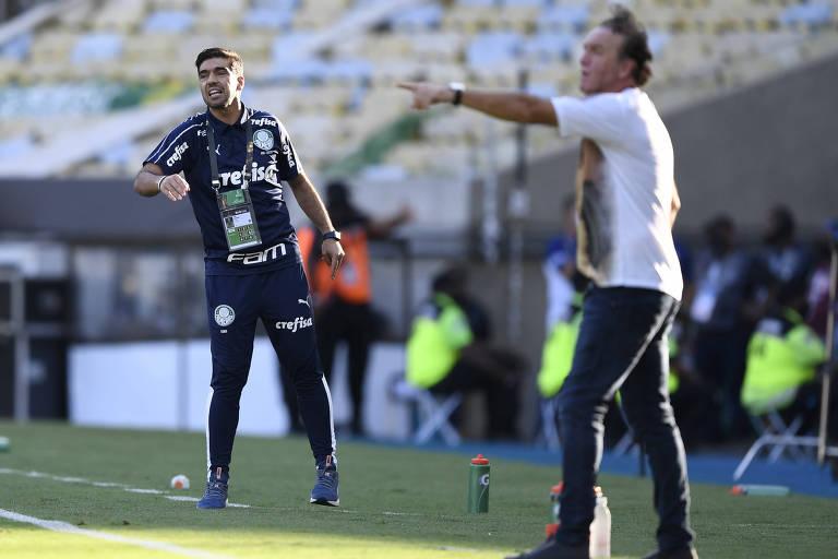 Abel Ferreira e Cuca na final da Libertadores entre Palmeiras e Santos, no Maracanã