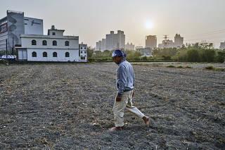 Tian Shou-shi walks across a dry field on his farm in Hsinchu, Taiwan, on March 18, 2021. (An Rong Xu/The New York Times)