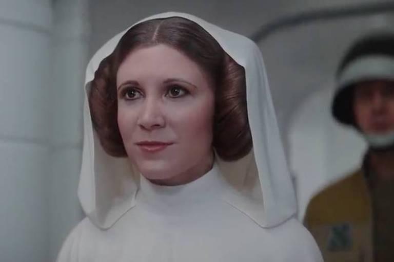 """Princesa Leia criada com CGI para o filme """"Rogue One: Uma História Star Wars"""""""