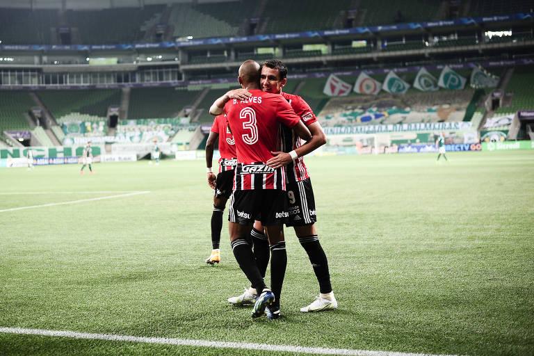 Pablo comemora o gol da vitória do São Paulo sobre o Palmeiras no Allianz Parque