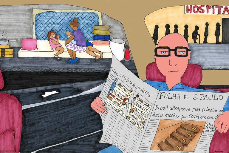 Desenho com muitas cores mostra homem lendo a Folha de S.Paulo numa sala com crianças brincando no sofá ou fundo