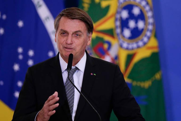 O presidente Jair Bolsonaro durante cerimônia de cumprimento aos oficiais generais promovidos, no Palácio do Planalto