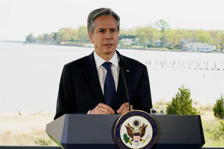 O secretário de Estado dos EUA, Antony Blinken, discursa sobre mudança climática na Fundação Chesapeake Bay, em Annapolis, no estado de Maryland