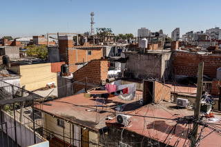 Carla Huanca's neighborhood in Buenos Aires on April 12, 2021.  (Sarah Pabst/The New York Times)