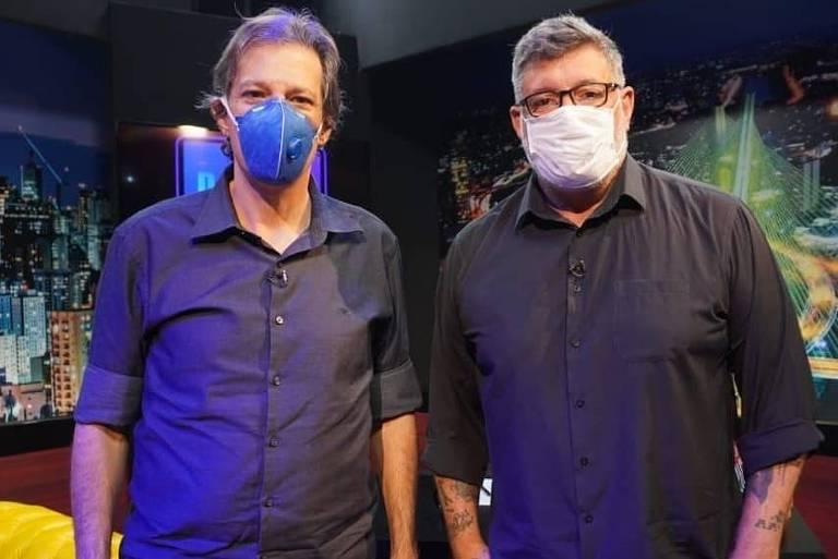 Fernando Haddad dá entrevista para Alexandre Frota
