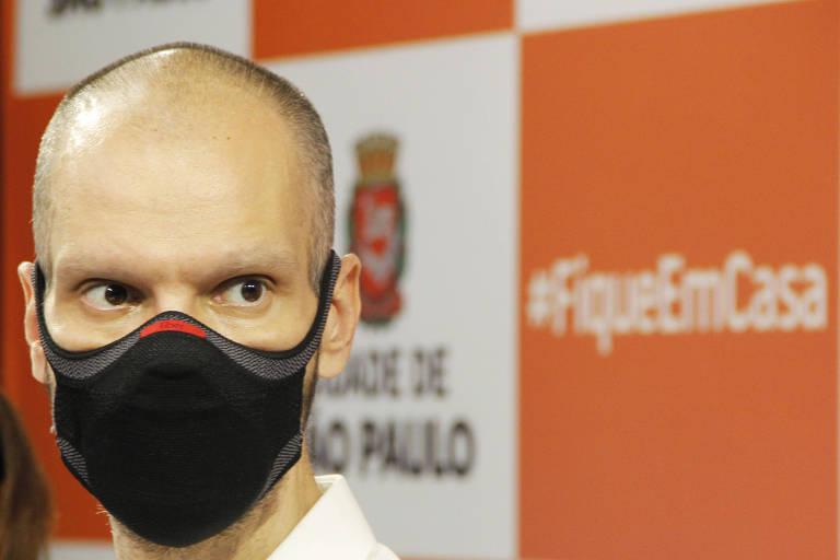 Bruno Covas em foto de fevereiro de 2021 durante coletiva aos jornalistas sobre a pandemia