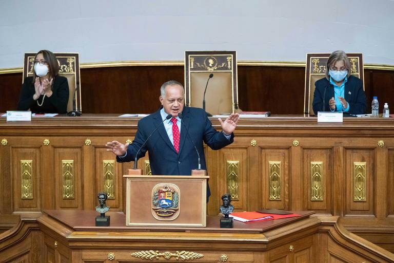 Diosdado Cabello durante sessão no Palácio Federal Legislativo, em Caracas