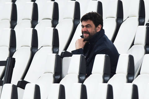 Soccer Football - Serie A - Juventus v Parma - Allianz Stadium, Turin, Italy - April 21, 2021 Juventus's president Andrea Agnelli in the stands before the match REUTERS/Massimo Pinca