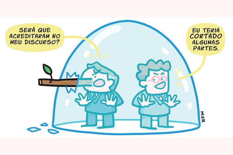 Charge Claudio Mor sobre discurso de Bolsonaro na Cúpula do Clima publicada no dia 23 de abril de 2021.