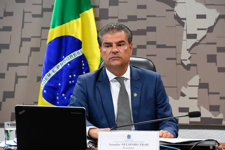 O senador Nelsinho Trad (PSD-MS) está de terno azul, camisa branca e gravata, sentado à mesa com um computador à frente. Ao fundo, bandeira do Brasil