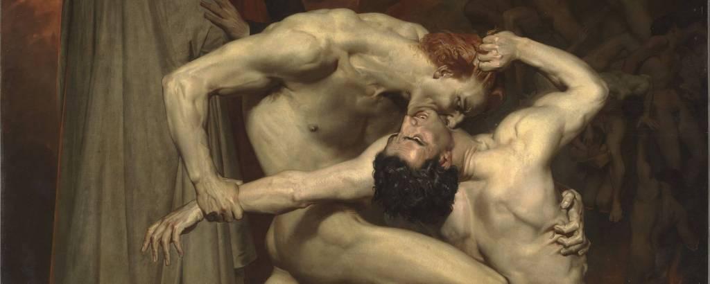 dois homens nus lutam
