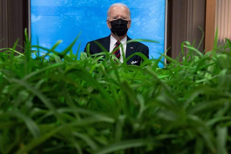 O presidente Joe Biden durante último da Cúpula do Clima, na Casa Branca, em Washington