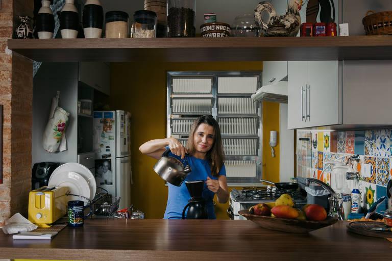 Claudia Fragoso na sua casa em Perdizes