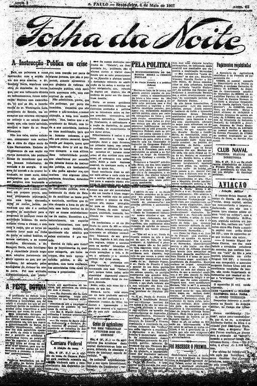 Primeira Página da Folha da Noite de 6 de maio de 1921