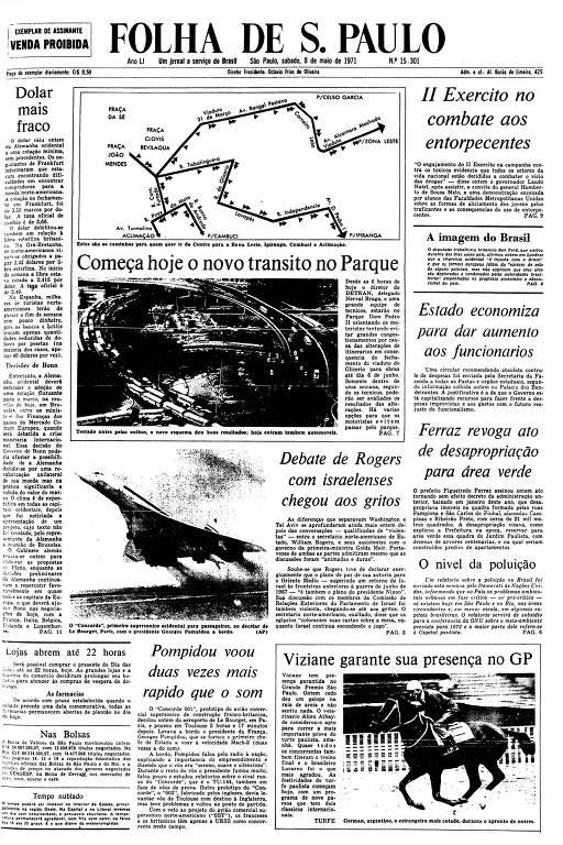 Primeira Página da Folha de 8 de maio de 1971