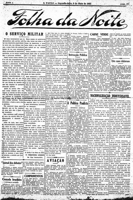 Primeira Página da Folha da Noite  de 9 de maio de 1921