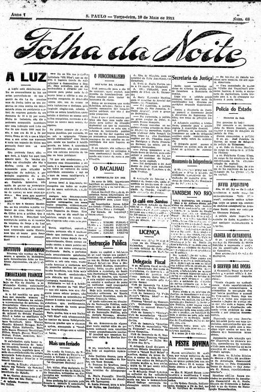 Primeira Página da Folha da Noite de 10 de maio de 1921