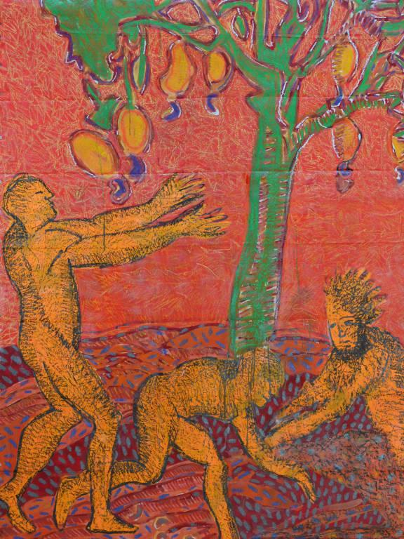 Wilson Neto se inspirou na obra de André Thévet, um frade francês que em 557 escreveu sobre a colheita do caju, para criar a pintura que estampa o rótulo da Cauína.
