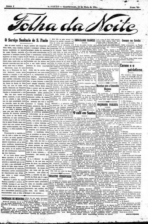 Primeira Página da Folha da Noite de 11 de maio de 1921