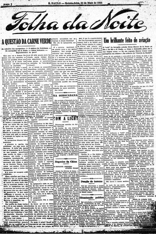 Primeira Página da Folha da Noite de 12 de maio de 1921